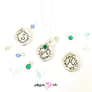 Initial Vine Monogram Necklace