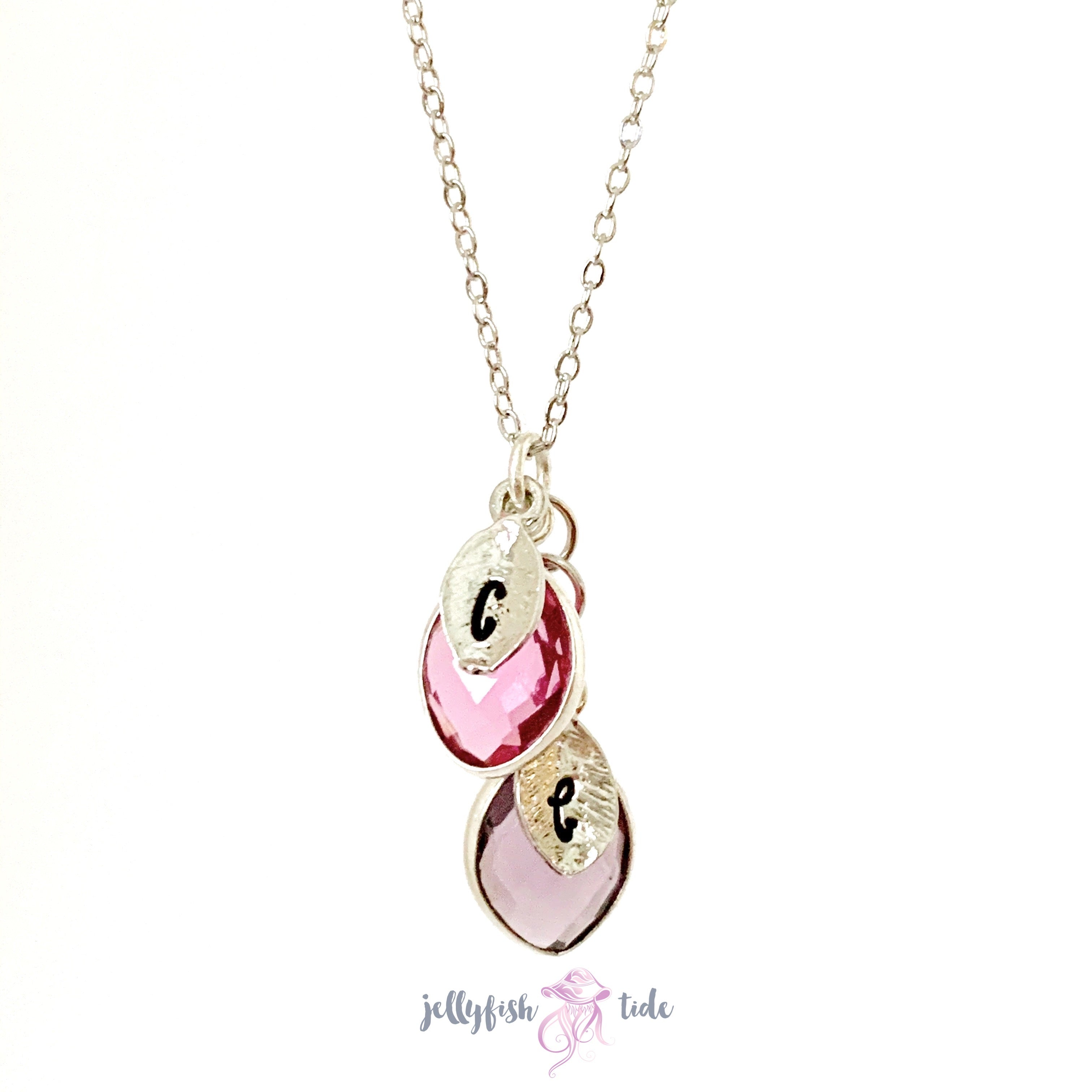 Initial Leaf and Gemstone Birthstone Necklace