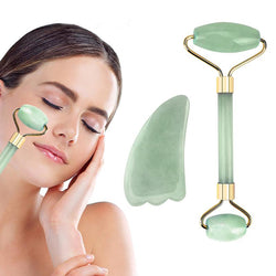 Real Jade Facial Roller and Gua Sha Set