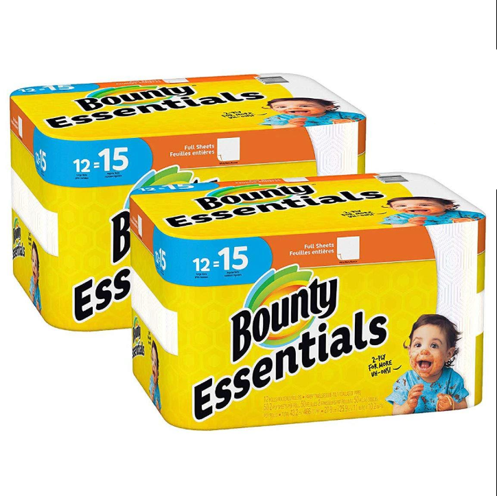 Bounty Essentials Full Sheet Paper Towels, Large Rolls, 24 Count