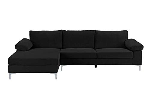 Divano Roma Furniture Modern Large Velvet Fabric Sectional Sofa, L-Shape Couch with Extra Wide Chaise Lounge (Black) img 1