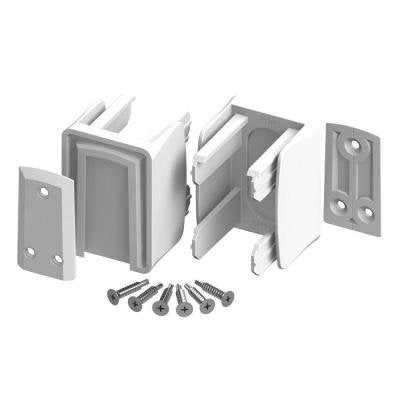 (2 Pack) Veranda Vinyl Fence Slide Lock Bracket Kit White