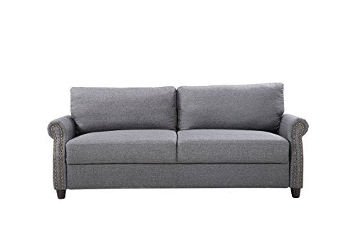 Classic Living Room Linen Sofa with Nailhead Trim Furniture with Storage (Light Grey) img 1
