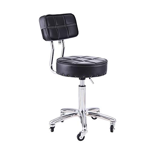 Rfiver Small Medical/Spa/Drafting Stool 24 inch Height in Black with wheels and Height Adjustment SC1002B