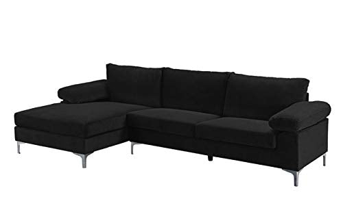 Divano Roma Furniture Modern Large Velvet Fabric Sectional Sofa, L-Shape Couch with Extra Wide Chaise Lounge (Black) img 2
