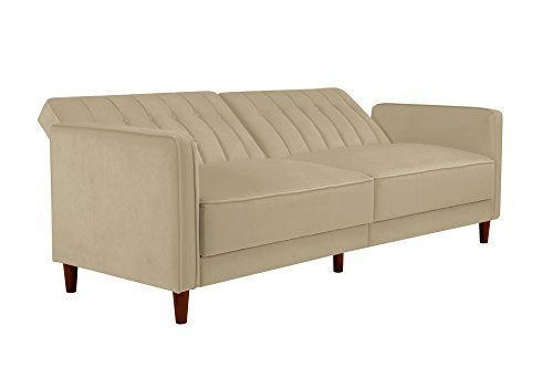 DHP Ivana Vintage Tufted Upholestered Futon Sofa Bed, Tan Velvet img 2