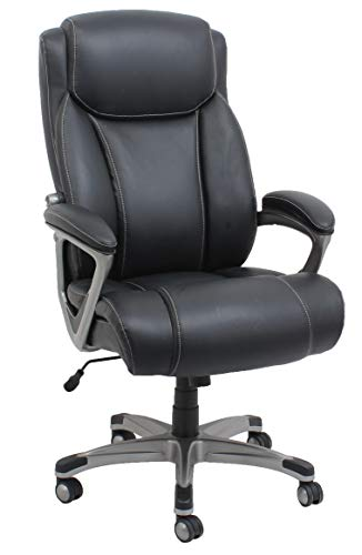 AmazonBasics Big & Tall Executive Chair - Adjustable with Armrest, 350-Pound Capacity - Black with Pewter Finish img 1