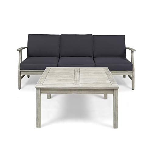 Lorelei Outdoor 3 Seater Teak Finished Acacia Wood Sofa and Table Set with Cream Water Resistant Cushions