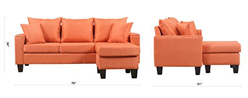Divano Roma Furniture Modern Linen Fabric Small Space Sectional Sofa with Reversible Chaise (Orange) img 3