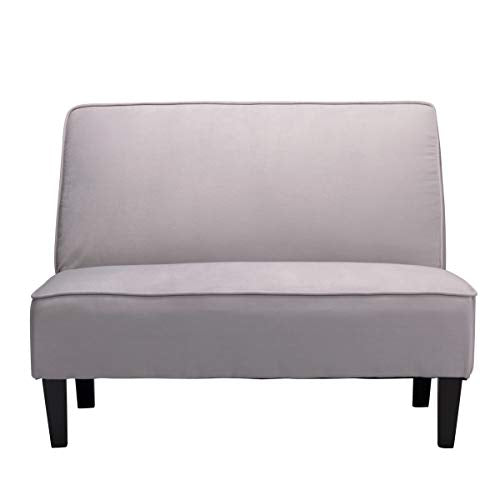 Changjie Cushioned Linen Armless Settee Loveseat Sofa Couch Home Casual Living Room Sleeper (Light Gray) img 1
