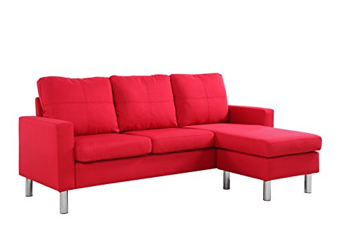 Modern Small Space Reversible Linen Fabric Sectional Sofa in Color Light Grey, Dark Grey, Beige, Red (Red) img 2