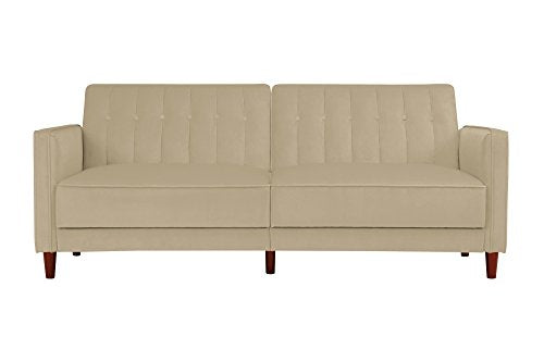 DHP Ivana Vintage Tufted Upholestered Futon Sofa Bed, Tan Velvet img 4