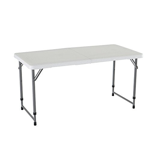Lifetime 4428 Height Adjustble Utility Adjustable Folding Table, 4 ft White img 1