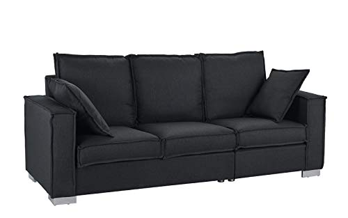 Classic Linen Fabric Sofa, Living Room Couch (Black)