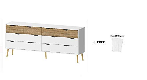 Tvilum 7545549ak Diana Drawer Chest, 8-Drawer, White/Oak Structure + Free Handi Wipes