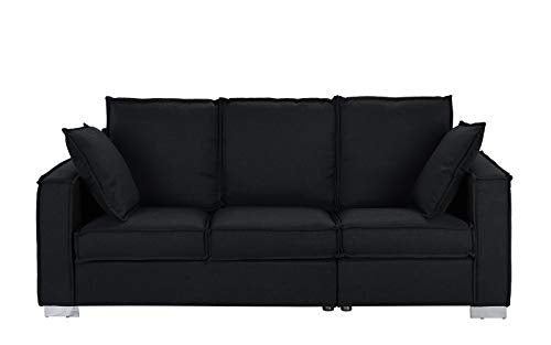 Classic Linen Fabric Sofa, Living Room Couch (Black) img 1