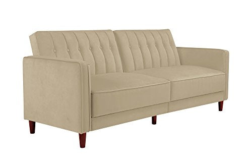 DHP Ivana Vintage Tufted Upholestered Futon Sofa Bed, Tan Velvet img 1