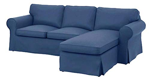 The Dense Cotton Ektorp Loveseat (2 Seater) Chaise Lounge Cover Replacement is Custom Made IKEA Ektorp Two Seat Chaise Sofa Slipcover (Blue) img 1