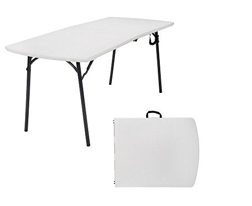COSCO Diamond Series 300 lb. Weight Capacity, 6 ft. x 30 in. Fold-in-Half Banquet Table, White Speckle with Hammer Tone Frame img 1