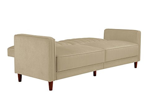 DHP Ivana Vintage Tufted Upholestered Futon Sofa Bed, Tan Velvet img 3