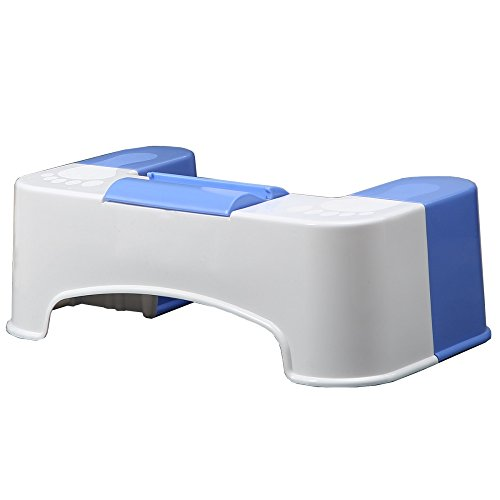 "Keeney SQT1C 7"" Bathroom Stool Storage Bin for Cleaning Wipes with Tablet/Smartphone Holder-White/Blue Toilet Foot Rest img 1"