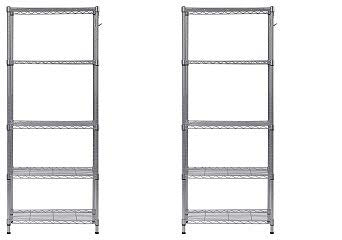 Muscle Rack.. WS241459-5S 5 Tier Wire Shelving with Hooks in Silver, 59