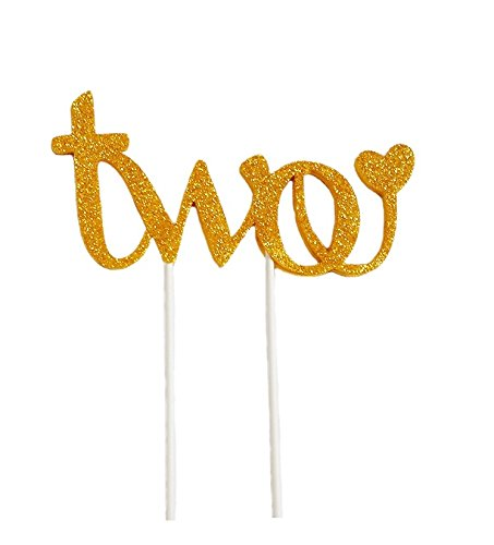E&L Second Birthday Handmade Cake Topper -Two- for Sweet Heart 2nd Birthday Birthday Cake Decoration
