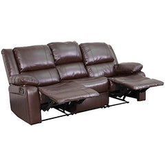 Flash Furniture Harmony Series Brown Leather Sofa with Two Built-In Recliners img 1