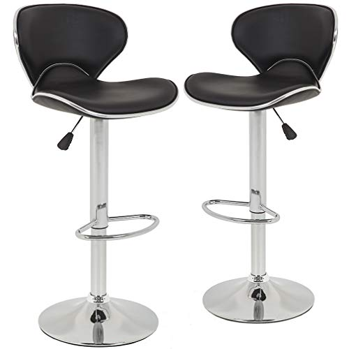 New Modern Adjustable Synthetic Leather Swivel Bar Stools Chairs-Sets of 2 img 1