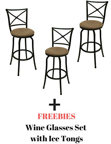Mainstays Adjustable-Height Swivel Barstool, Hammered Bronze Finish, Set of 3 - Brown