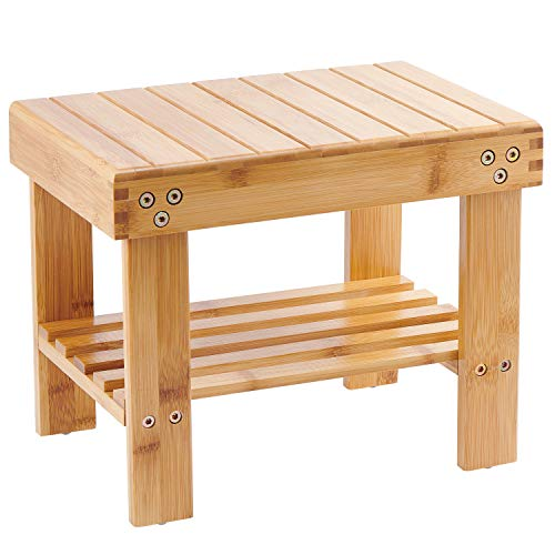 Bamboo Small Seat Stool for Kids, Foot Rest Shaving Stool,Storage Shelf, Durable Lightweight and Anti Slip img 1