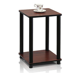 Furinno 99800CRM/WH Turn-N-Tube Haydn End Table, 1-Pack, Cream Faux Marble/White