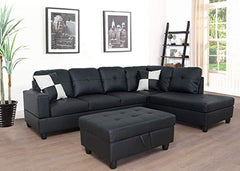 Lifestyle Furniture 3-Piece Black Contemporary Leather Living Room Right-Facing Sectional Sofa Set img 1