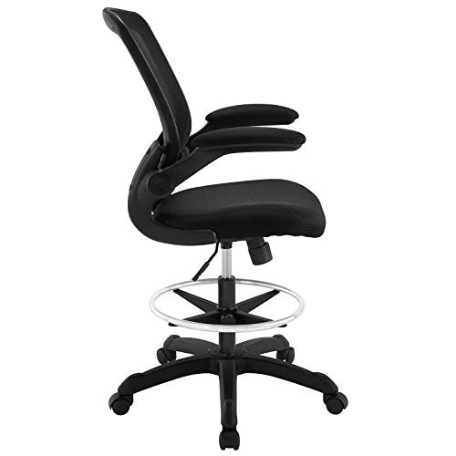 Modway Veer Drafting Chair In Black Mesh With Flip-Up Arms - Reception Desk Chair - Tall Office Chair img 2