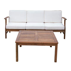 Lorelei Outdoor 3 Seater Teak Finished Acacia Wood Sofa and Table Set with Cream Water Resistant Cushions img 1