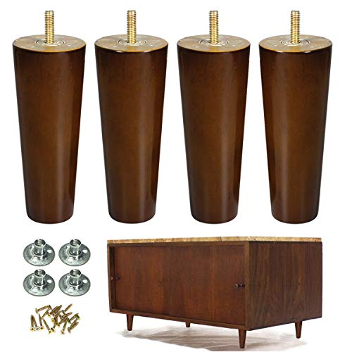 Wood Furniture Legs Set of 4 Sofa Legs 6 inch Walnut Finished Replacement Feet for End Tables Cabinet Dresser Furniture Restoration img 1