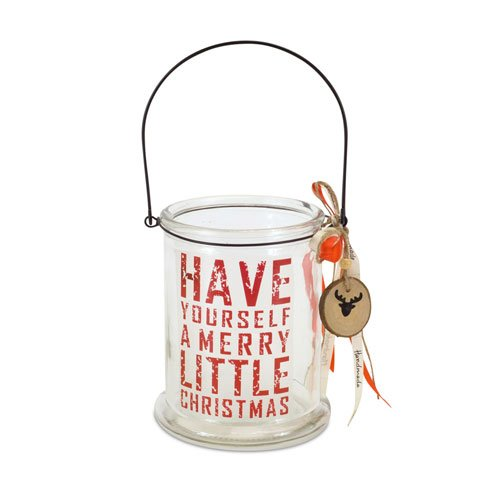 Melrose 'Have A Self Merry Little Christmas' Glass Candle Holder.