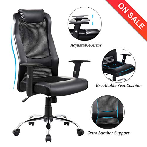 VANBOW Extra High Back Mesh Office Chair - Adjustable Arms Ergonomic Computer Desk Task Chair with Padded Leather Headrest and Lumbar Support (Black-Mesh) img 1