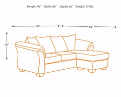 Ashley Furniture Signature Design - Darcy Sofa with Chaise - Contemporary Style Couch - Salsa img 4