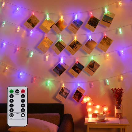 Magnoloran LED Photo String Lights with Remote Control, 20 Photo Clips Battery Powered Fairy Twinkle Lights, Wedding Party Christmas Home Decor Lights