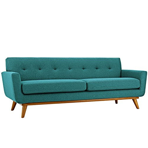Modway Engage Mid-Century Modern Upholstered Fabric Sofa In Beige