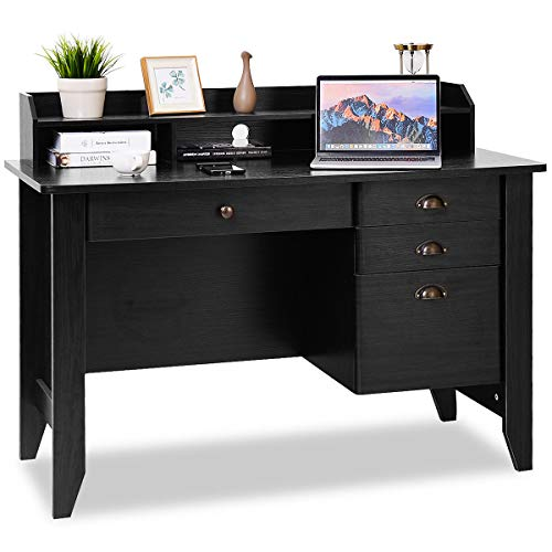 Tangkula Computer Desk Home Office Wood Frame Vintage Style Studyroom Student Table with Drawers Bookshelf PC Laptop Notebook Desk Spacious Workstation Writing Study Table (Brown)