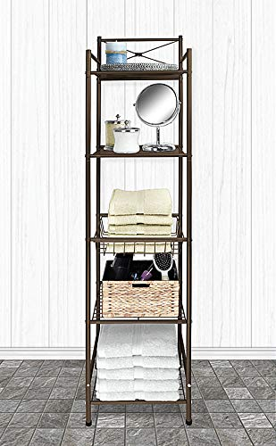 Home Expressions 5 Tier Bathroom Towel and Shelving Tower Space Saver Rack With Basket 12.5