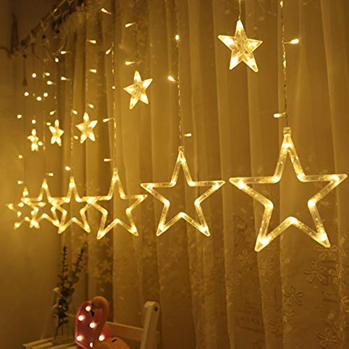 Twinkle Star 12 Stars 138 LED Curtain String Lights, Window Curtain Lights with 8 Flashing Modes Decoration Christmas, Wedding, Party, Home, Patio Lawn, Warm White img 1