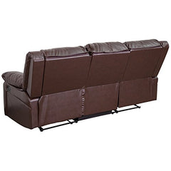 Flash Furniture Harmony Series Brown Leather Sofa with Two Built-In Recliners img 2