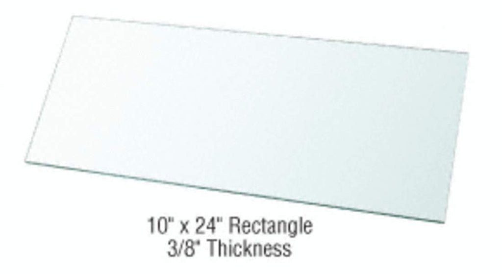 "CRL 10"" x 24"" Rectangle 3/8"" Clear Tempered Glass Shelf - Pack of 3"