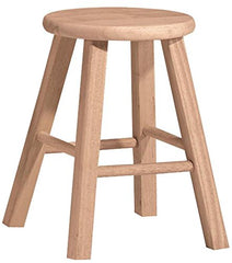 International Concepts 1S-518 18-Inch Round Top Stool, Unfinished img 1