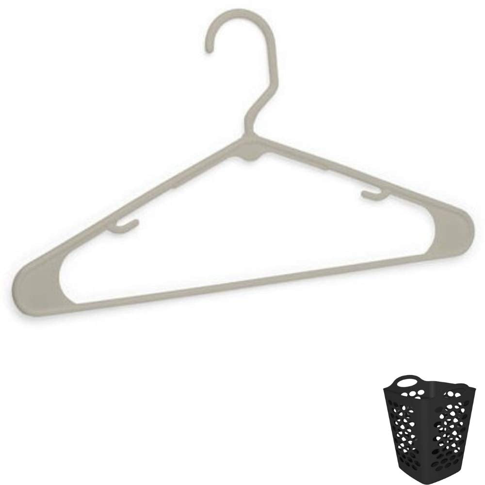 Mainstay Tubular Plastic Hangers, Set of 18, Taupe Splash with Free Hamper