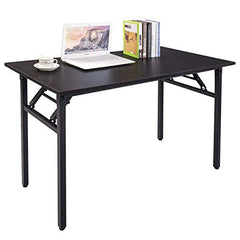 Halter Folding Computer Desk - Foldable Writing & Study Table for Home & Office Desk Use - Black (47