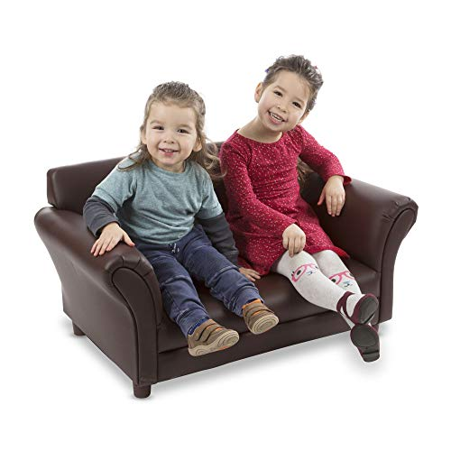 Melissa & Doug Child's Sofa - Coffee Faux Leather Children's Furniture - Amazon Exclusive img 1
